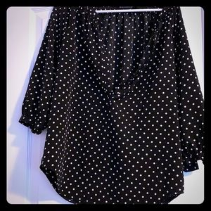 Women's Ralph Lauren black and white polka blouse